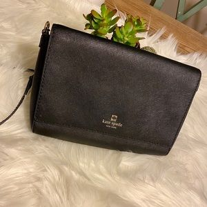 Large Kate Spade Black Leather Flap Crossbody